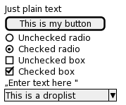 "PlantUML Syntax: salt<br /> {<br /> Just plain text<br /> [This is my button] () Unchecked radio<br /> (X) Checked radio<br /> [] Unchecked box<br /> [X] Checked box<br /> ""Enter text here ""<br /> ^This is a droplist^<br /> }<br />"