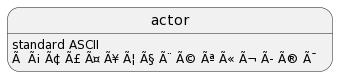 PlantUML Syntax: <p>actor: standard ASCII<br /> actor: à á â ã ä å æ ç è é ê ë ì í î ï</p>