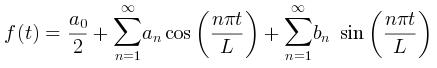 PlantUML Syntax: @startmath<br /> f(t)=(a_0)/2 + sum_(n=1)^ooa_ncos((npit)/L)+sum_(n=1)^oo b_n\ sin((npit)/L)<br /> @endmath<br />