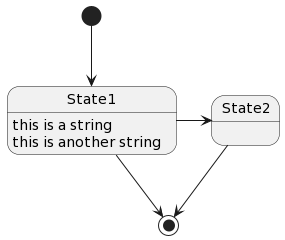 PlantUML Syntax: [*] –> State1<br /> State1 –> [*] State1 : this is a string<br /> State1 : this is another string</p> <p>State1 -> State2<br /> State2 –> [*]